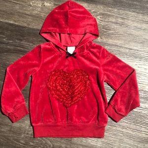4/$20 Wonderkids Velour Lace Heart Hoodie Sz 3